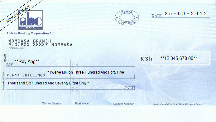 Printed Cheque of ABC Bank - African Banking Corporation in Kenya