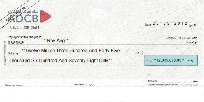 Printed Cheque of Abu Dhabi Commercial Bank - ADCB in UAE