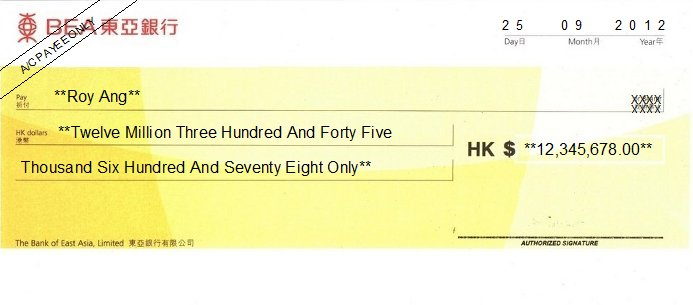 Printed Cheque of BEA Bank - Corporate Hong Kong (東亞銀行)