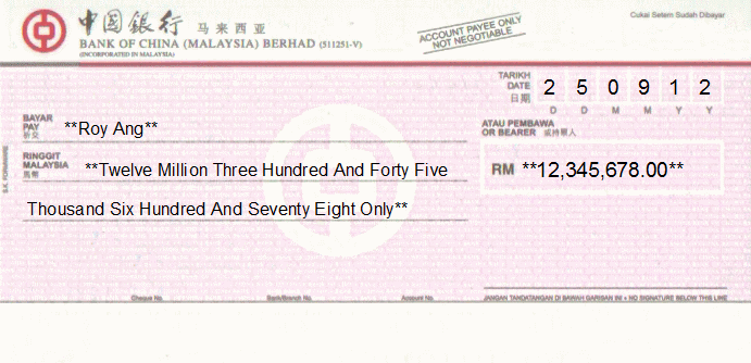 Printed Cheque of Bank of China in Malaysia