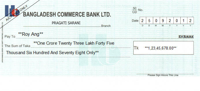 Printed Cheque of Bangladesh Commerce Bank in Bangladesh