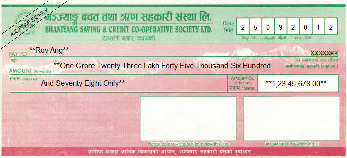 Printed Cheque of Bhanjyang Saving & Credit Cooperative Society in Nepal