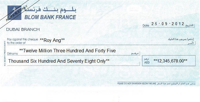Printed Cheque of Blom Bank France in UAE