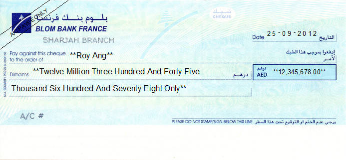 Printed Cheque of Blom Bank France (Personal) in UAE