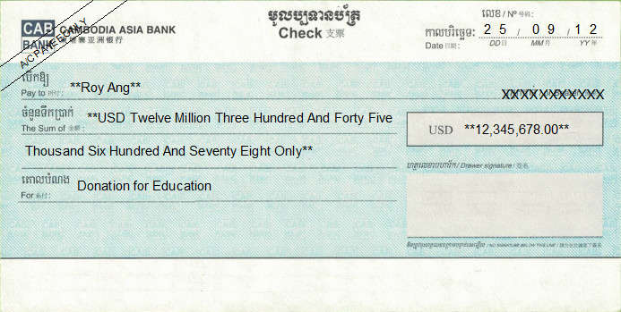 Printed Cheque of CAB - Cambodia Asia Bank (USD) in Cambodia