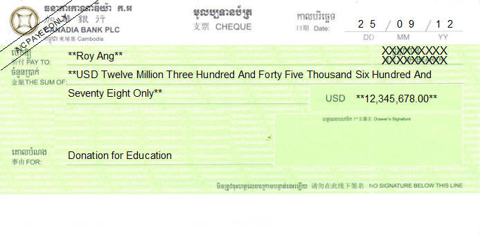 Printed Cheque of Canadia Bank in Cambodia