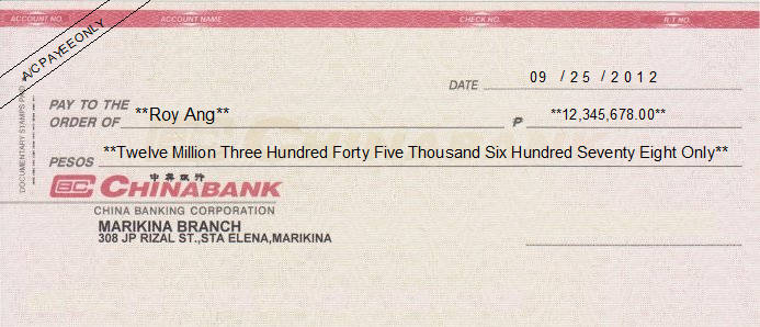 Printed Cheque of China Bank (Personal) Philippines