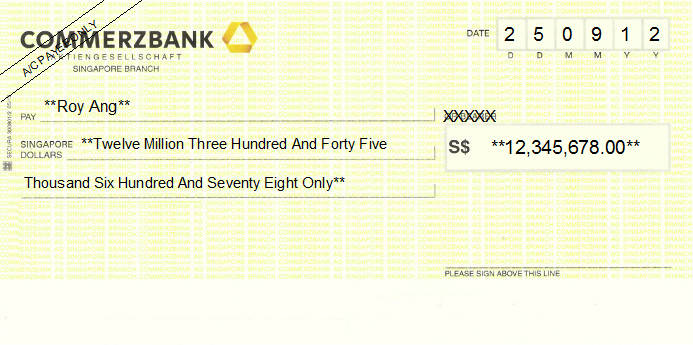 Printed Cheque of Commerzbank Singapore