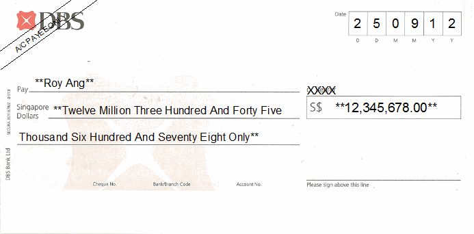 Printed Cheque of DBS Bank Singapore