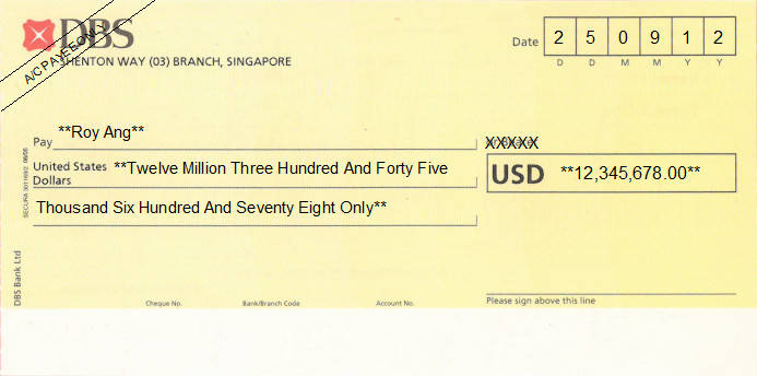 Printed Cheque of DBS Bank (USD) Singapore