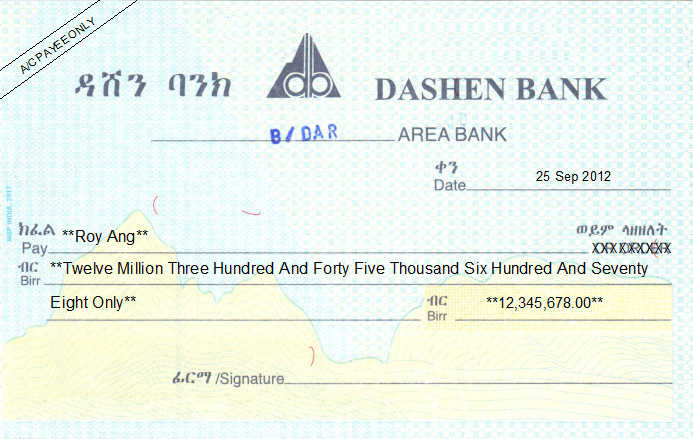 Printed Cheque of Dashen Bank in Ethiopia