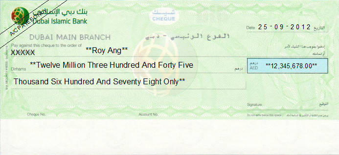 Printed Cheque of Dubai Islamic Bank (Personal) UAE