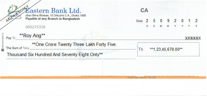 Printed Cheque of Eastern Bank in Bangladesh