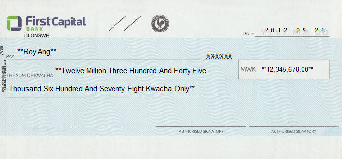 Printed Cheque of First Capital Bank in Malawi
