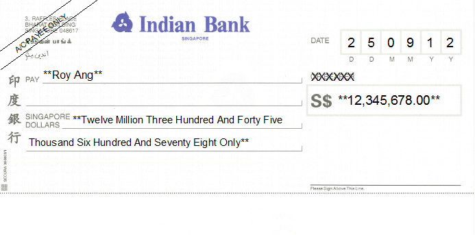 Printed Cheque of Indian Bank Singapore