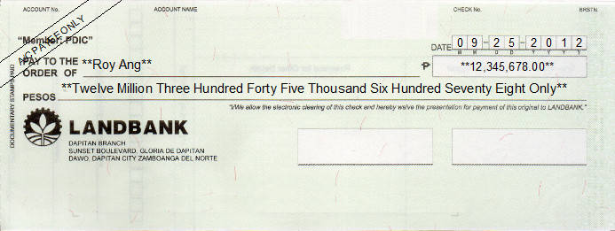 Printed Cheque of Land Bank Philippines