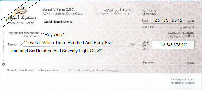 Printed Cheque of Masraf Al Rayan Bank in Qatar