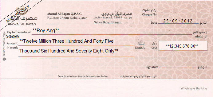 Printed Cheque of Masraf Al Rayan Bank - Wholesale Banking in Qatar