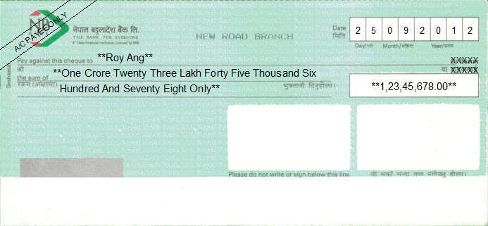 Printed Cheque of NB Bank (Nepal Bangladesh Bank) in Nepal