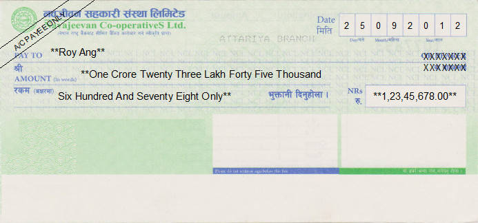 Printed Cheque of Navajeevan Co-operatives in Nepal