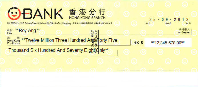 Printed Cheque of O-Bank - 王道銀行 in Hong Kong
