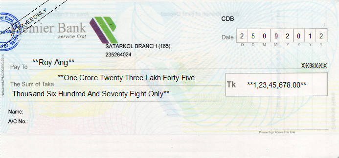 Printed Cheque of Premier Bank in Bangladesh