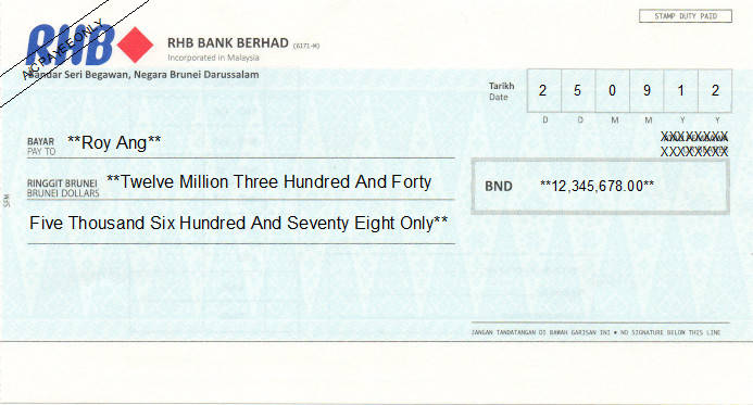 Printed Cheque of RHB Bank in Brunei