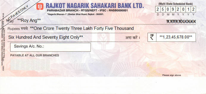 Printed Cheque of Rajkot Nagarik Sahakari Bank in India