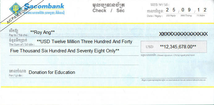 Printed Cheque of Sacombank Bank (USD) in Cambodia
