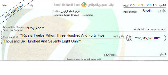 Printed Cheque of Saudi Hollandi Bank in Saudi Arabia