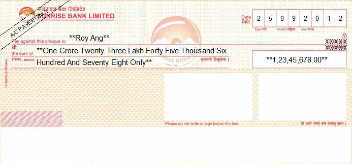 Printed Cheque of Sunrise Bank in Nepal