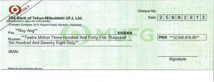 Printed Cheque of The Bank of Tokyo-Mitsubishi UFJ in Pakistan