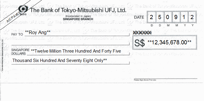 Printed Cheque of The Bank of Tokyo-Mitsubishi UFJ Singapore