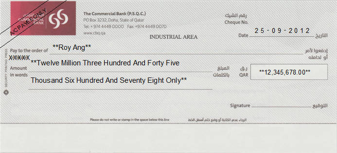 Printed Cheque of The Commercial Bank - Corporate Banking in Qatar