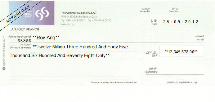 Printed Cheque of The Commercial Bank in Qatar