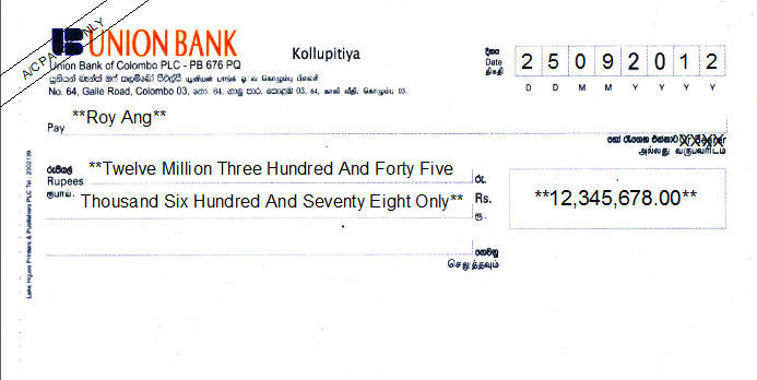 Printed Cheque of Union Bank in Sri Lanka