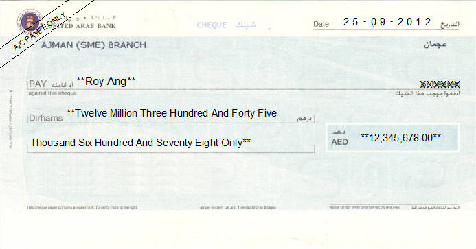 Printed Cheque of United Arab Bank UAE