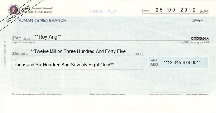 Printed Cheque of United Arab Bank UAE