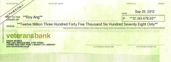Printed Cheque of Veterans Bank in Philippines