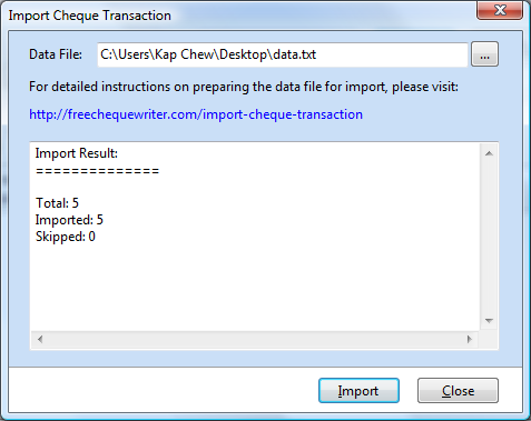 Import multiple cheque transactions for batch printing